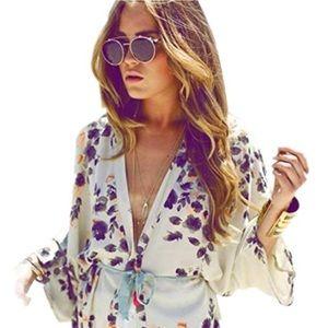 Long Blouse Loose Kimono Bikini Cover up Chiffon